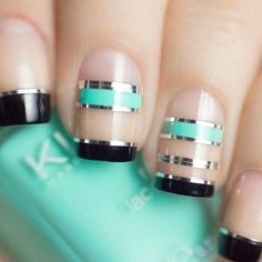 Tiffany Blue and Black Negative Space Nails With Silver Nail Tape nail art trending Fancy Nails, Trendy Nails, Cute Nails, Silver Nails, Black Nails, Fabulous Nails, Gorgeous Nails, Gel Nails, Nail Polish