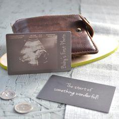 Baby Scan Pregancy Announcement Keepsake Personalised plastic wallet sized card