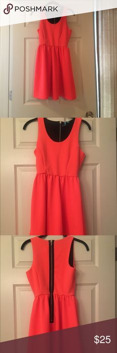 Hot Coral dress Beautiful color. Zip up back. Only worn once. Size small but I would say a little on the bigger end. Dresses