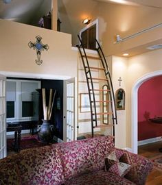 Ship Stairs for access to an attic loft.