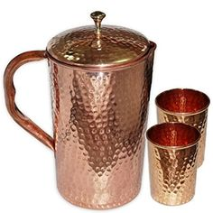 Best Quality Pure Copper Jug ( Hammered Jug 1650 ML / oz ) with One Glass Drinkware Set of Jug and Glass - Copper Jug Glass Set - Tumbler Set - Christmas Gift Ayurveda, Ayurvedic Healing, Copper Vessel, Copper Mugs, Pure Copper, Copper Kitchen Utensils, Copper Interior, Water Storage, Moscow Mule Mugs