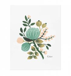 Blue Botanical Illustrated Art Print