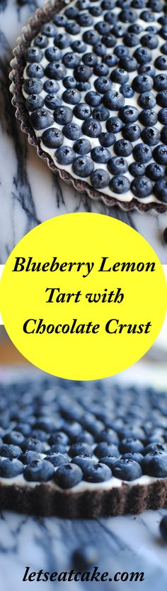 Make this Blueberry Lemon tart with cream cheese filling and a chocolate graham cracker crust in 30 minutes or less. // easy dessert // summer // quick recipes
