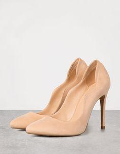 Zapato tacón fino ondas - Color maquillaje