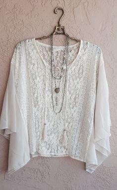 Bohemian nude blush sheer silk chiffon lace tunic by BohoAngels, $40.00