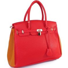 Designer Inspired Purses :Hermes Birkin -Similar Style: London Office Tote Large Size Two Tone Color in Red Brown