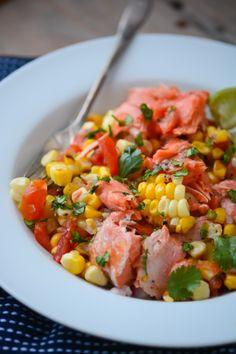 grilled salmon and corn salad - www.scalingbackblog.com