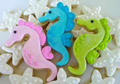 beach themed cookies | Beach Wedding Theme Inspiration: Seahorses