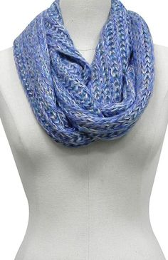 Blue infinity scarf.