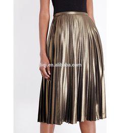 f1b63ae7b587 Wholesale Women Apparel Latest Style Back-exposed zip High Rise Pleated  Metallic Skirt(DQE0237SK