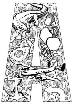 ➳➳➳☮American Hippie Art - Zentangle Coloring Page .. Lettering - Things that start with A