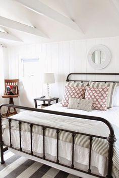 beautiful neutral farmhouse bedroom <3