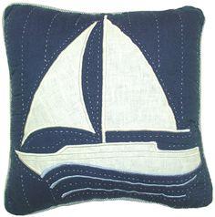 Found it at Wayfair Australia - Nantucket Dream Sailboat Quilt Pillow Handmade Pillows, Diy Pillows, Throw Pillows, Nautical Quilt, Nautical Nursery, Patchwork Pillow, Quilted Pillow, Beach Themed Quilts, Tropical Bedding