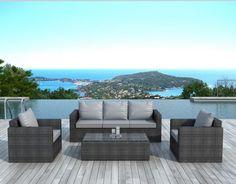Salon de jardin gris design Brady Atylia prix promo Salon de ...
