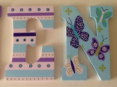 Custom Painted Girl's Wall Letters Beautiful por SophiasRosieRoom