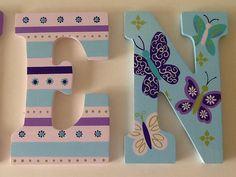 Custom Painted Girl's Wall Letters Beautiful por SophiasRosieRoom