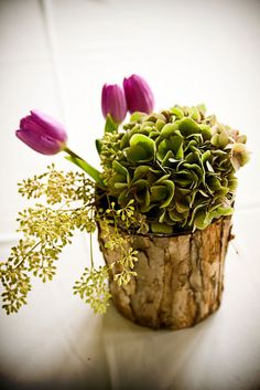 centerpiece: that's a really cool vase idea. Is that bark??