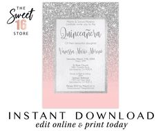 Check out our quinceanera invitation printable selection for the very best in unique or custom, handmade pieces from our invitations & announcements shops. Invitations Quinceanera, Quince Invitations, Sweet Sixteen Invitations, Birthday Invitations, Great Gatsby Invitation, Paris Sweet 16, Text Message Invitations, Candy Bar Labels, Glitter Party