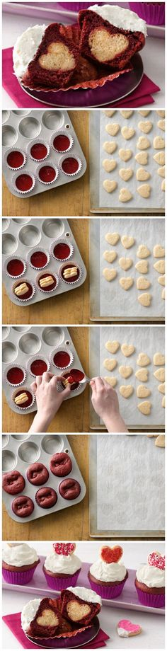 These sweet little cupcakes only look complicated. They're actually really easy, especially when you start with Betty's sugar cookie and red velvet cake mixes! Click through for the step-by-step instructions, tips and photos!