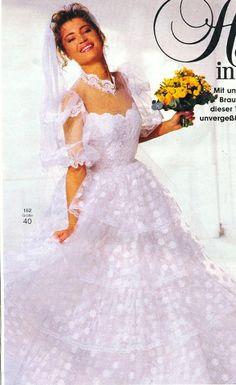 1986, Burda moden 1980s Wedding Dress, Long Gown For Wedding, Wedding Dress Sleeves, Dream Wedding Dresses, Vintage Weddings, Vintage Bridal, Beautiful Bride, Beautiful Dresses, Types Of Wedding Gowns