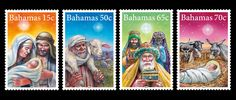 The main characters of the Nativity story appeared on 4 festive issue by Bahamas Post | Stampnews.com