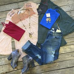 """#NEWARRIVALS #Knit #Embroidered #Top $34.99 S-L #Distressed #Boyfriends $39.99 1-13 #BedStu #PeepToe #Booties $209.99 7.5-9.5 #PinkPanache #Necklace $48.99 & #Earrings $32.99 #Cami $9.99 We #ship! Call to order! 903.322.4316 #shopdcs #instagood #instashop #love #pink #style"" Photo taken by @daviscountrystore on Instagram, pinned via the InstaPin iOS App! http://www.instapinapp.com (09/14/2015)"