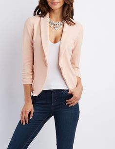 Pink Shawl Lapel Textured Blazer by Charlotte Russe