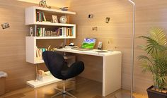 KD02 Modern Office Desk in White Lacquer by J