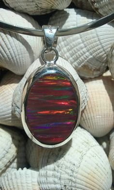 925 Sterling Silver oval shape pendant with Red Mexican Fire