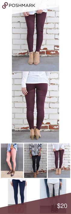 Burgundy Moto Biker Pant Legging W/Zipper S/M L/XL Burgundy Moto Biker Pants Legging W/Ankle Zipper, no pockets on back, 60% Cotton 35% Nylon 5% Spandex.  Also available in navy, khaki, black, dusty mauve, burgundy, gray, and olive.  Available in sizes Small/Medium or Large/XLarge.  ARRIVING TUESDAY/SHIPPING WEDNESDAY!  No Trades, Price Firm unless Bundled. BUNDLE 3 OR MORE ITEMS FOR 15 % OFF Couture Gypsy Pants Leggings