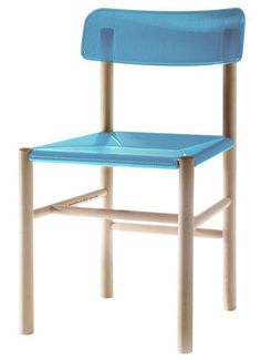 Trattoria Chair Chair - Plastic & wood Blue by Magis