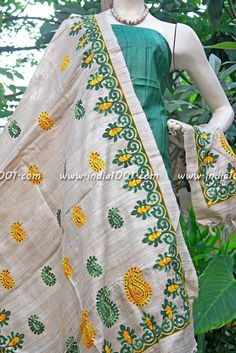 Stunning Fine Silk Unstitched suit | India1001.com