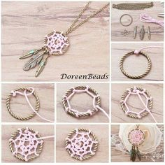 Beads, Jewelry Making Supplies, Art and Crafts SuppliesHow to make a dream catcher Homemade Dream Catchers, Making Dream Catchers, Dream Catcher Craft, Bracelet Crafts, Jewelry Crafts, Handmade Jewelry, Diy Dream Catcher Tutorial, 14k Gold Initial Necklace, Tree Of Life Earrings