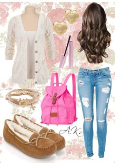 A really cute girly back to school outfit
