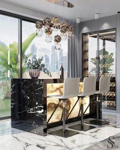 Best interiors of Studia 54 - portfolio Bar Interior, Restaurant Interior Design, Luxury Homes Interior, Interior Decorating, Modern Restaurant, Luxury Kitchen Design, Kitchen Room Design, Contemporary Interior, Modern Interior Design