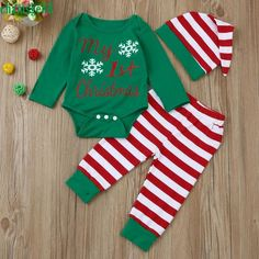 06075dc61f60  My First Christmas  Romper + Striped Pants + Hat Outfit Girls Christmas  Outfits