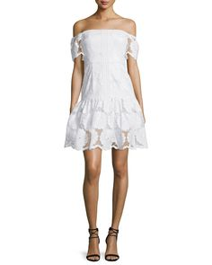 Off-The-Shoulder Sunflower-Lace Dress, White - N Nicholas