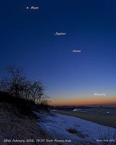 Moon,Jupiter,Venus,Mercury at Sunset | by Niki Giada