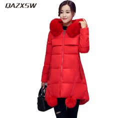 QAZXSW New Women's Winter Jackets Fur Collar Hooded Jacket For Warm Outwear Loose Thicker Cotton Jacket Jaqueta Feminina HB025 * AliExpress Affiliate's buyable pin. Locate the offer on www.aliexpress.com simply by clicking the VISIT button #Women'sjackets