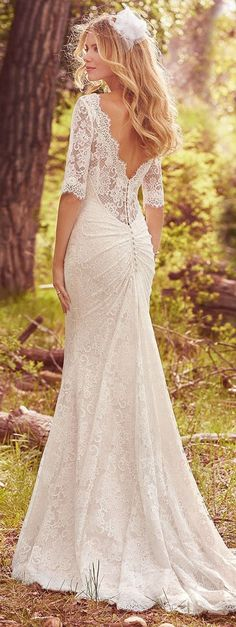 Maggie Sottero - MCKENZIE Lace Fit-and-Flare Wedding Gown. There are few things more romantic than vintage lace in an effortless silhouette, e. a long-sleeve fit-and-flare wedding gown fit for all-night dance parties and destination adventures. Maggie Sottero Wedding Dresses, Dream Wedding Dresses, Bridal Dresses, Lace Dresses, Maggie Sottero 2017, Spring Wedding Dresses, Wedding Dresses Second Marriage, Maggie Sotero, Weeding Dresses