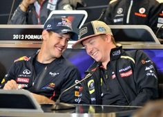 Kimi and Seb Vettel laughing ...