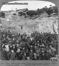 Greek miners at the silver mines of Lavrio
