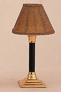 Brass/Black Mini Lamp with beaded Shade