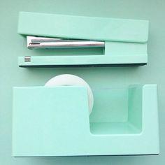 Workhappy Pinboard | Poppin Stapler + Tape Dispenser #mint #workhappy