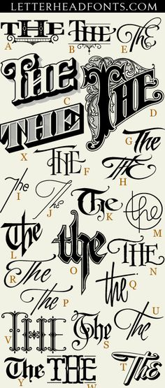 "62 hand drawn ""The's"" expertly crafted and ready for your designs. Each letter corresponds to a unique and stylish ""The"". Set also includes 3 free bonus glyphs. Save $21 and get 62 Thes & 62 Ands together. http://www.letterheadfonts.com/fonts/62thes.php"