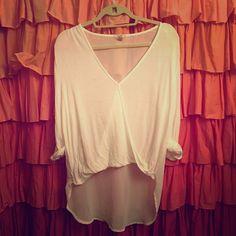 Forever 21 - white draped shirt w/ sheer back Size L. Forever 21. Sheer back. Draped front. Make me an offer  Forever 21 Tops Blouses