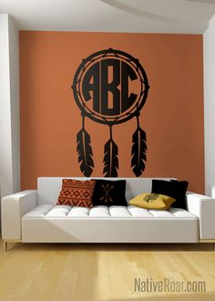 Dreamcatcher Monogram Native American Pride Wall Decal Indigenous Wall Decor Apache Cherokee Navajo Sioux Mexica Lakota Indian Tribe Feather