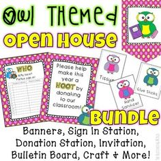 Everything You Need For An OWL THEMED Open House This Fun Colorful Resource Will