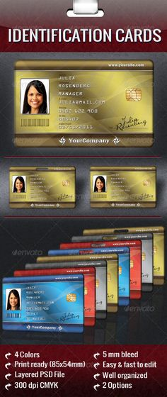 Student Identification card template Design the school and - id card psd template