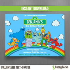 Sesame Street Birthday Invitation - Instant Download and Edit with Adobe Reader